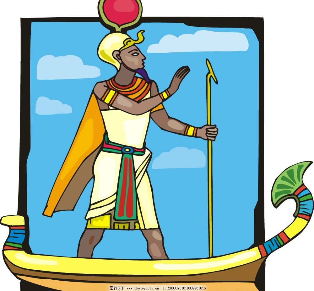 非洲艺术矢量图 独木舟