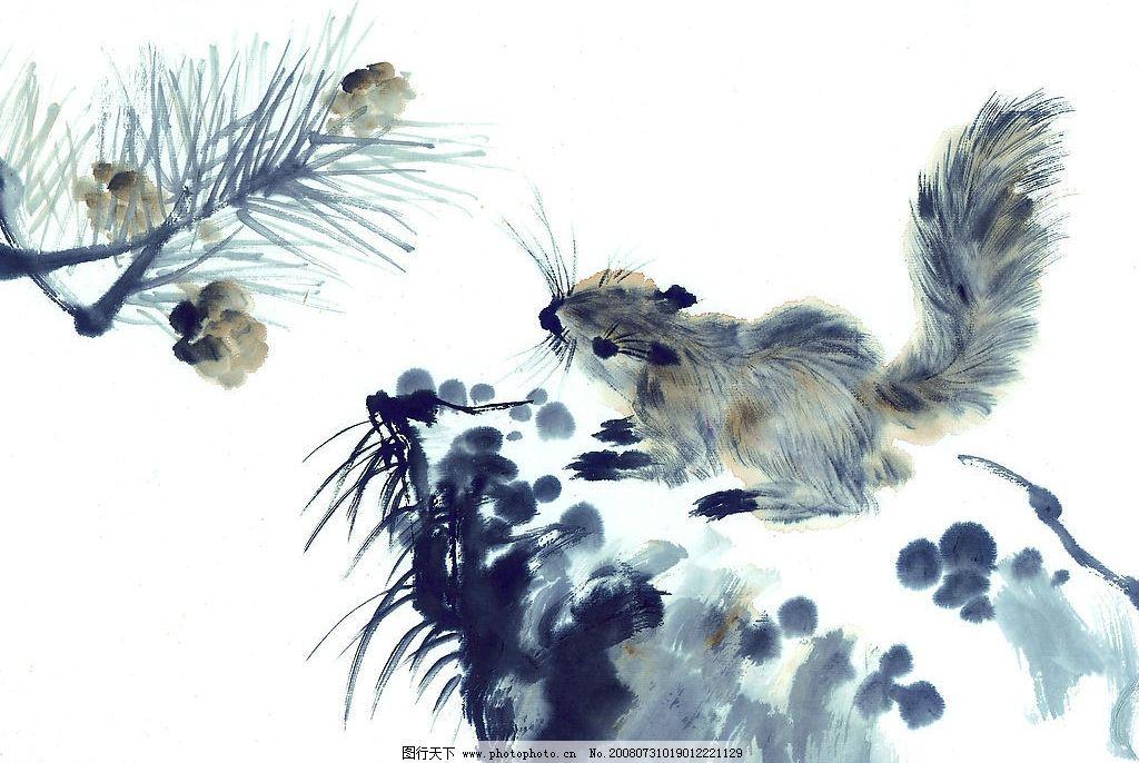 中国国画 国画 水墨 松鼠 松果 植物 动物 文化艺术 绘画书法 中国画