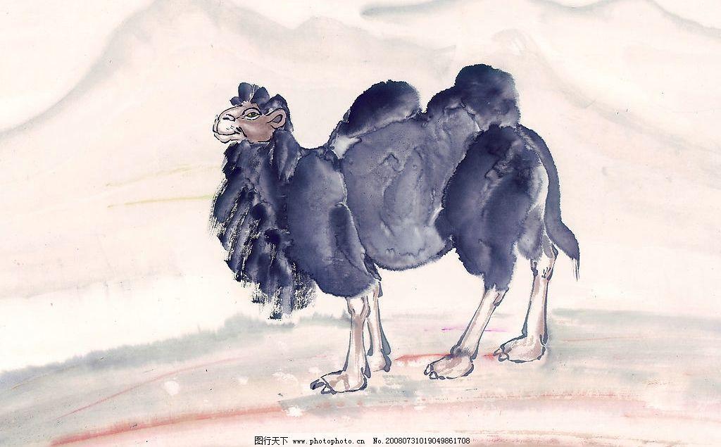 中国国画 国画 水墨 骆驼 动物 山 大山 远山 山脉 山峦 文化艺术