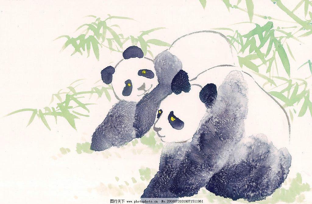 国画 竹子 竹 植物 动物 熊猫 大熊猫 国宝 水墨 文化艺术 绘画书法