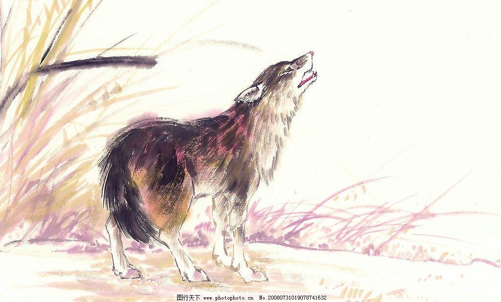 中国国画 草 植物 动物 国画 水墨 野兽 狼 文化艺术 绘画书法 中国画