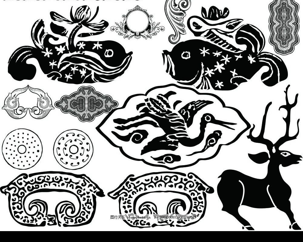 中华玉器纹饰5 纹样 花纹 中华图片 线条 动物纹样 传统元素