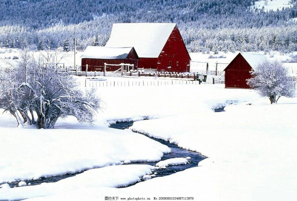 雪中小屋 可爱小屋 雪景 自然景观 自然风景 摄影图库