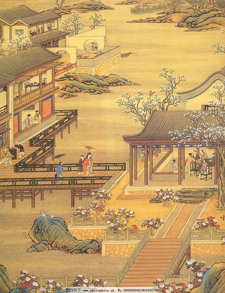 古代人物 古代房子 山 树木 梅花 古人戏耍 挑但 阁楼 等等 文化艺术