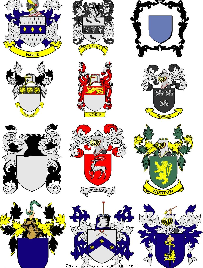 欧洲古典标 花纹 盾牌 头盔 狮子 鹰 标识标志图标 其他 矢量图库