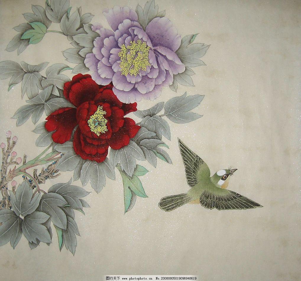 牡丹富贵图 临摹工笔画 麻雀 花鸟图 文化艺术 绘画书法 书法绘画