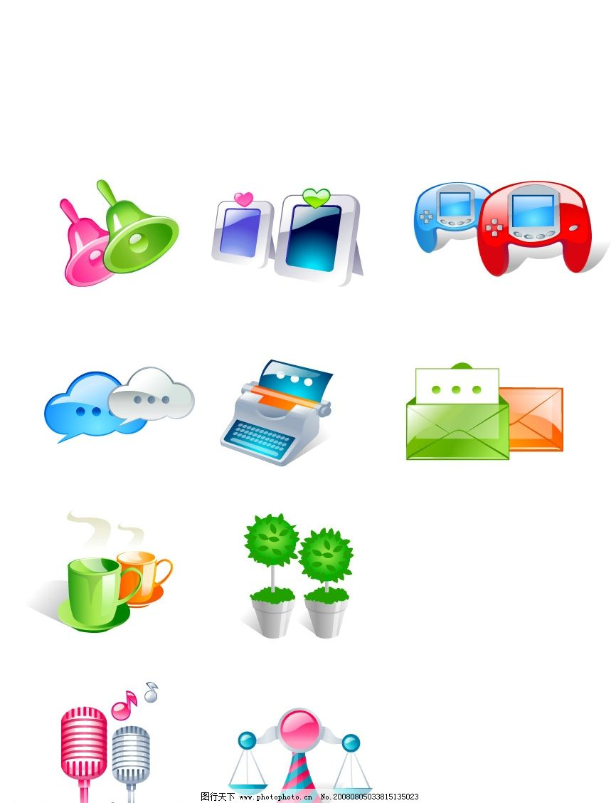 可爱3d图标 可爱图标 铃铛 显示器 打印机 信封 茶杯 麦克风 天平
