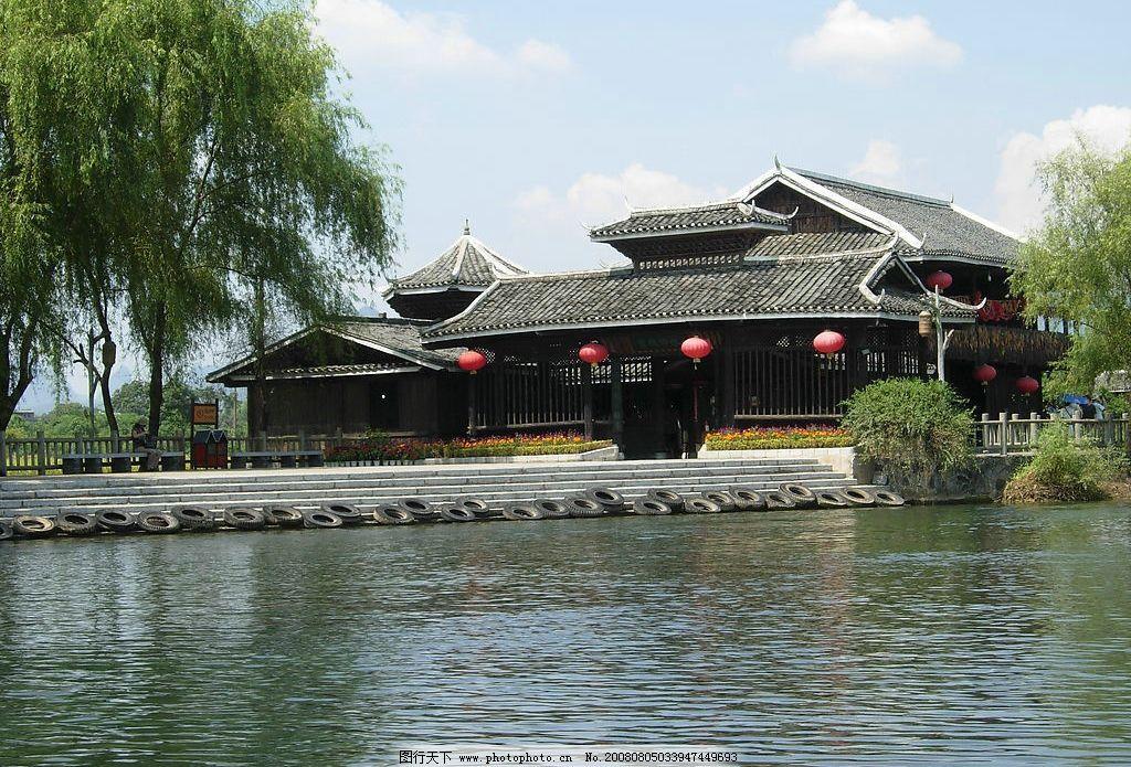 风景 漂亮风景 精美风景 水 湖水 草 植物 树 回廊 建筑 房子 人物 山
