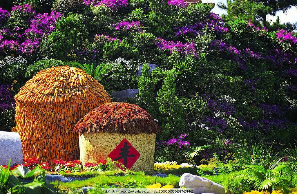 谷仓 园林 风景 地产素材 五谷 谷堆 绿花 自然景观 自然风景 摄影