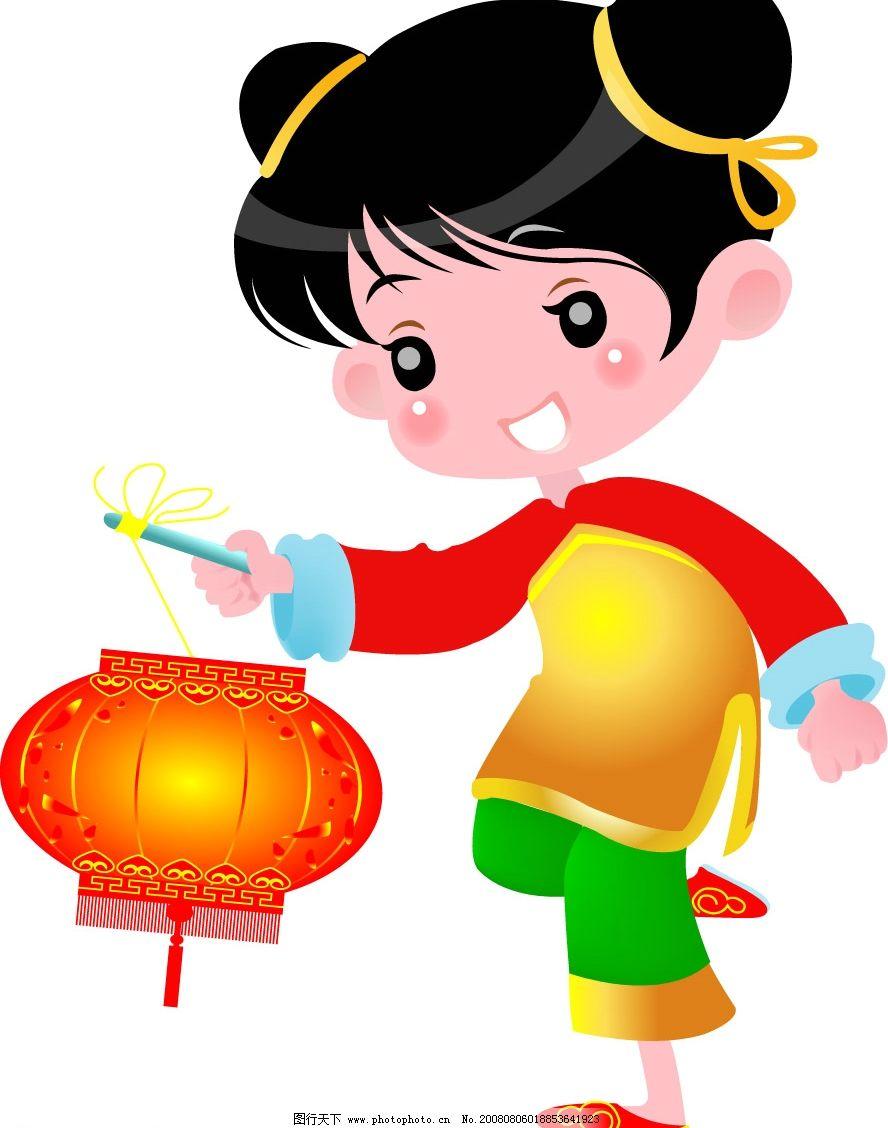 女孩 儿童 喜庆 新年 欢乐 小孩 中国 绿色 文化艺术 传统文化 矢量