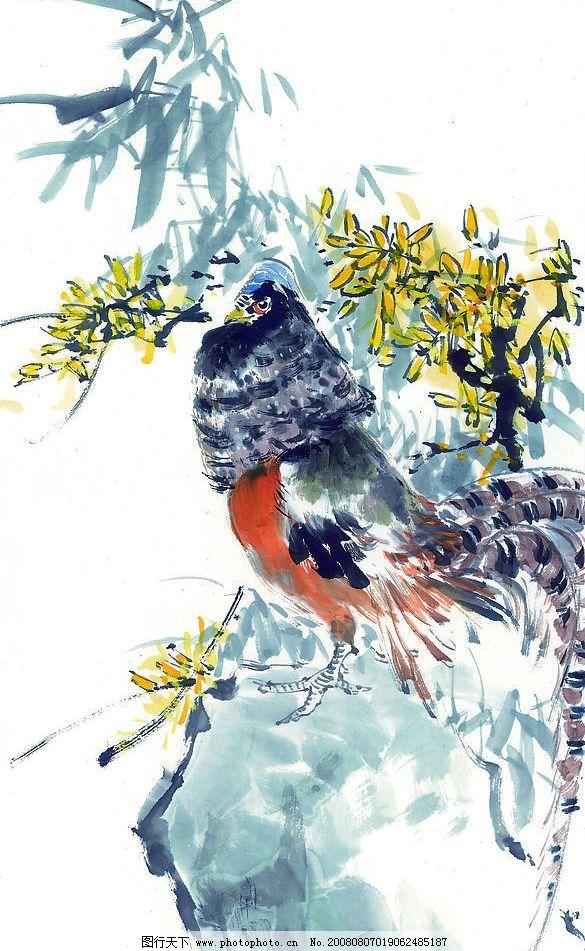 中国国画 鸡 植物 动物 水墨 文化艺术 绘画书法 中国画 设计图库