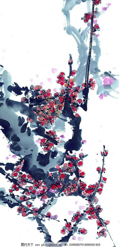 中國國畫 國畫 花 花樹 樹 植物 水墨 梅花 文化藝術 繪畫書法 中國畫圖片