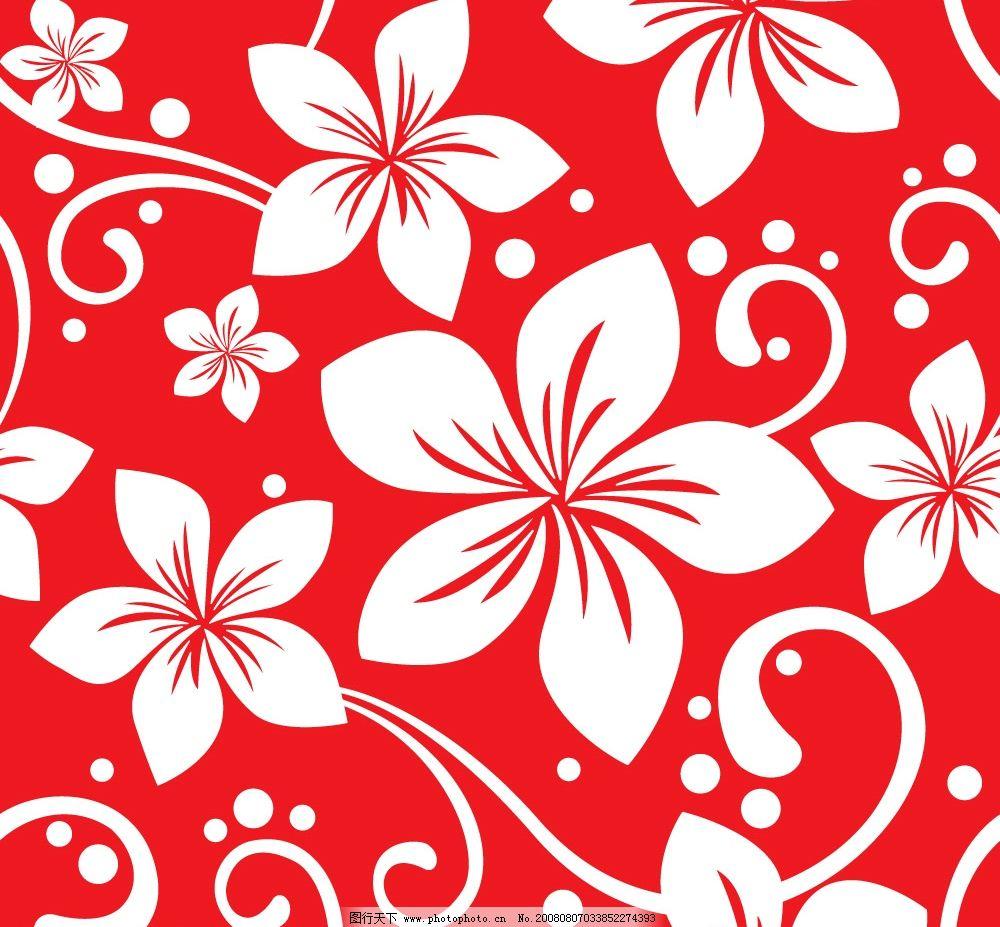 花纹 红底白花 其他矢量 矢量素材 矢量图库