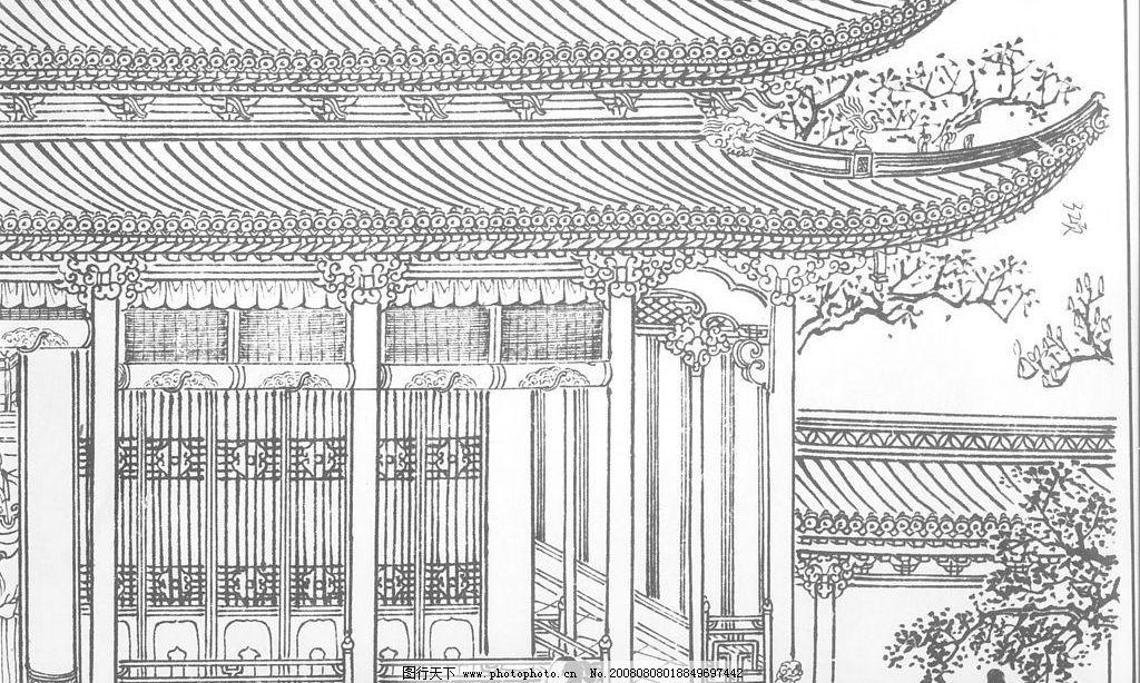 楼房 屋檐 黑白线描稿 文化艺术 传统文化 线描搞 设计图库 300dpi