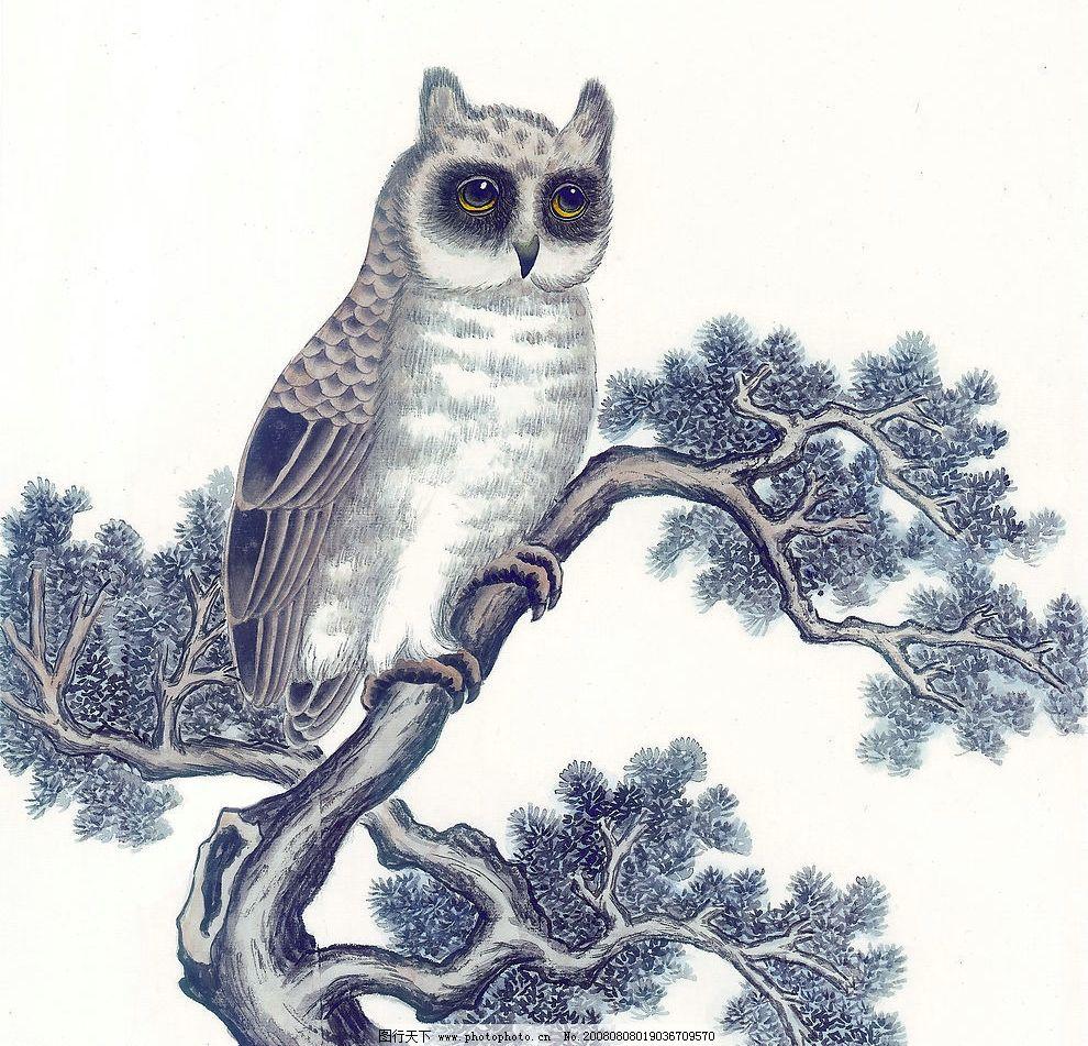 猫头鹰 树 松树 植物 动物 水墨 文化艺术 绘画书法 中国画 设计图库