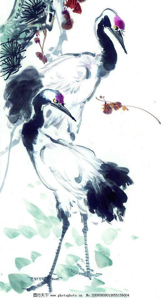 中国国画 水墨 花 仙鹤 树 植物 动物 文化艺术 绘画书法 中国画