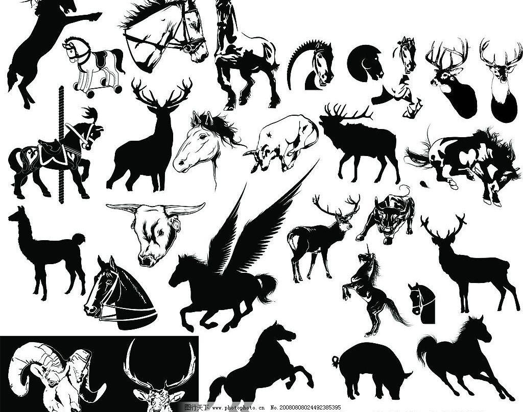 黑白马牛羊 马牛羊 生物世界 野生动物 矢量图库 cdr