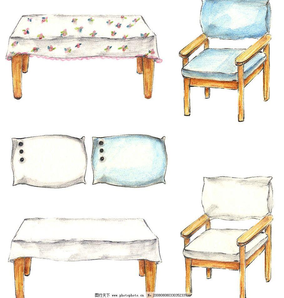手绘小桌椅图片