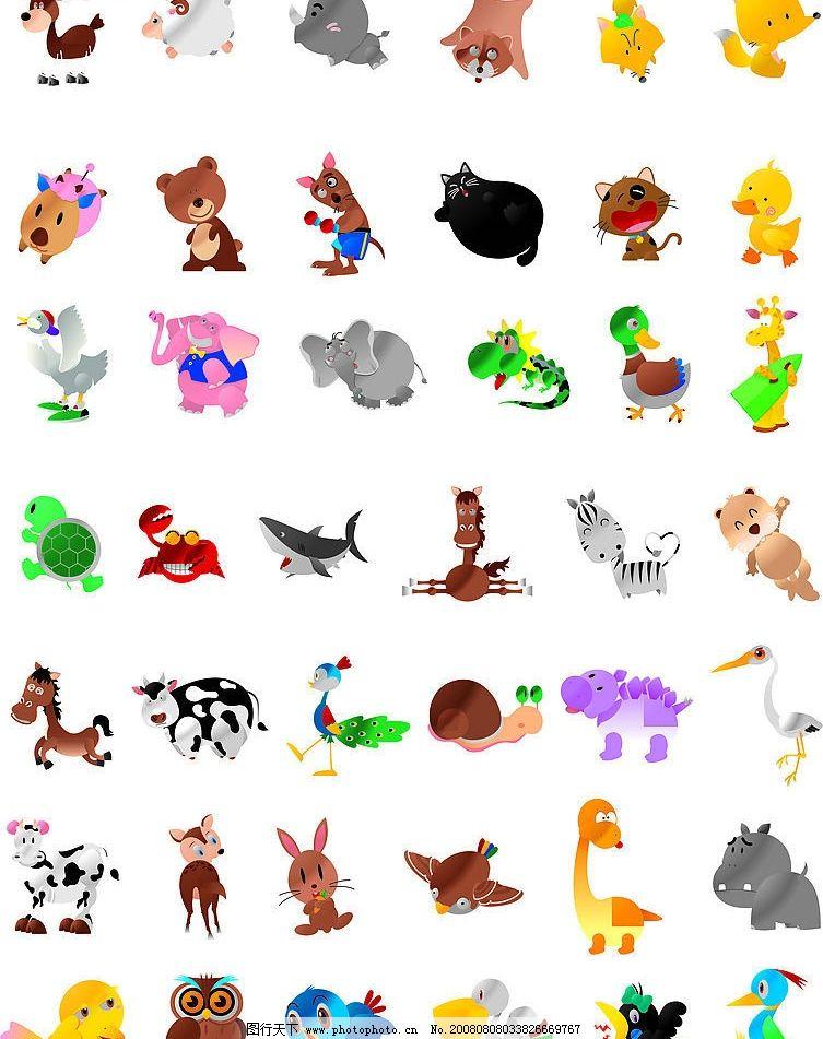 卡通矢量动物 猫 狗 野兽 家禽 其他矢量 矢量素材 矢量图库 cdr