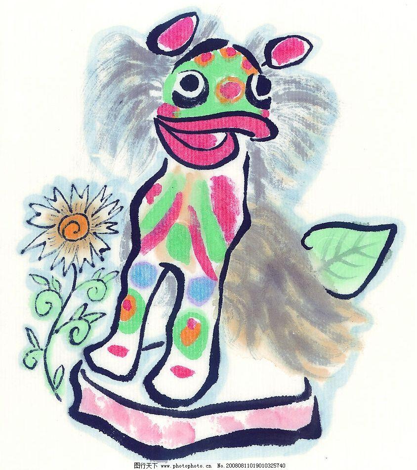 卡通狮子 国画 花 树叶 狮子 卡通画 卡通 文化艺术 绘画书法 中国画