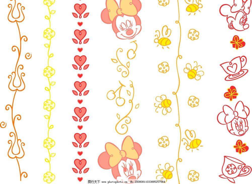 彩色配饰46 彩色配饰 其他矢量 矢量素材 老版迪斯尼人物和花边 矢量
