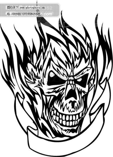 矢量欧美花纹元素 骷髅头 游戏怪物 矢量图 矢量人物
