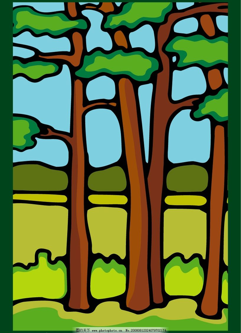 树林 树木 蓝天 草地 晴朗 阳光 草原 风景 自然景观 自然风景 矢量
