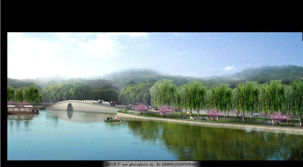 长幅风景 长幅 风景 桥 小船 游人 游船 柳树 桃花 水 山 白云 蓝天