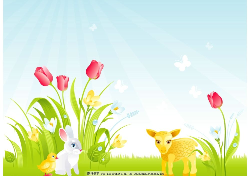 花丛草地上的动物图片