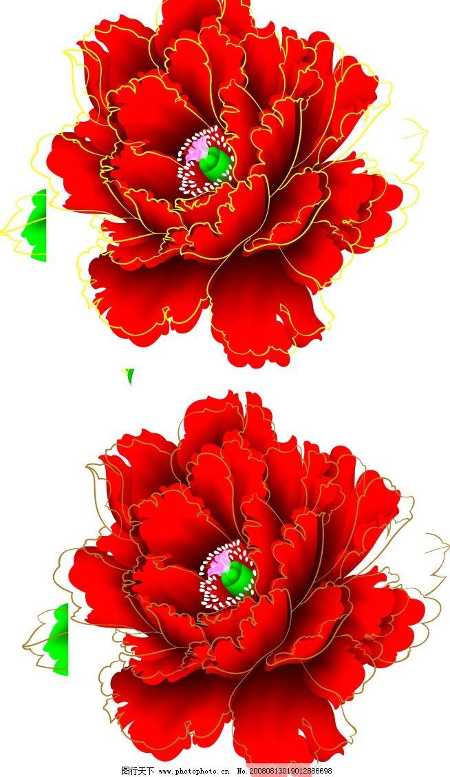 牡丹 花卉 植物 文化艺术 美术绘画 矢量图库 cdr