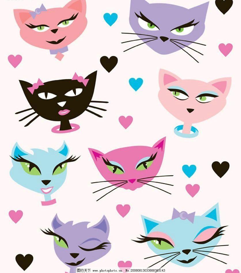 可爱的卡通猫形象矢量素材图片
