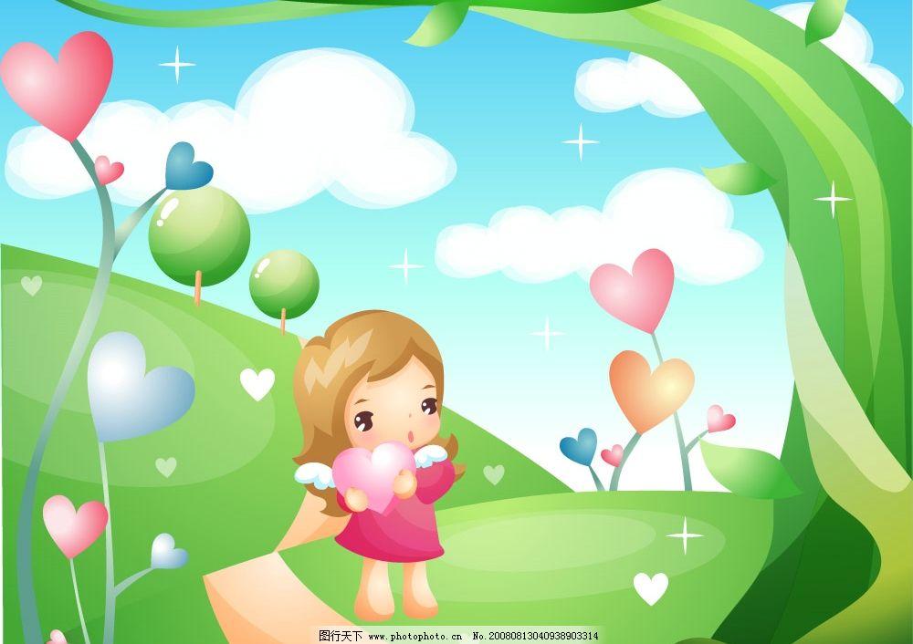 蓝天白云 云彩 儿童 女孩 树枝 星星 心形 天使 心 矢量人物 儿童幼儿