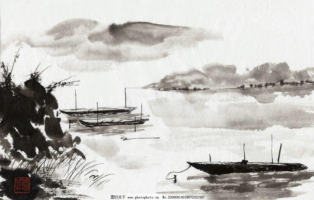 山水画 国画 古典 艺术 船 文化艺术 绘画书法