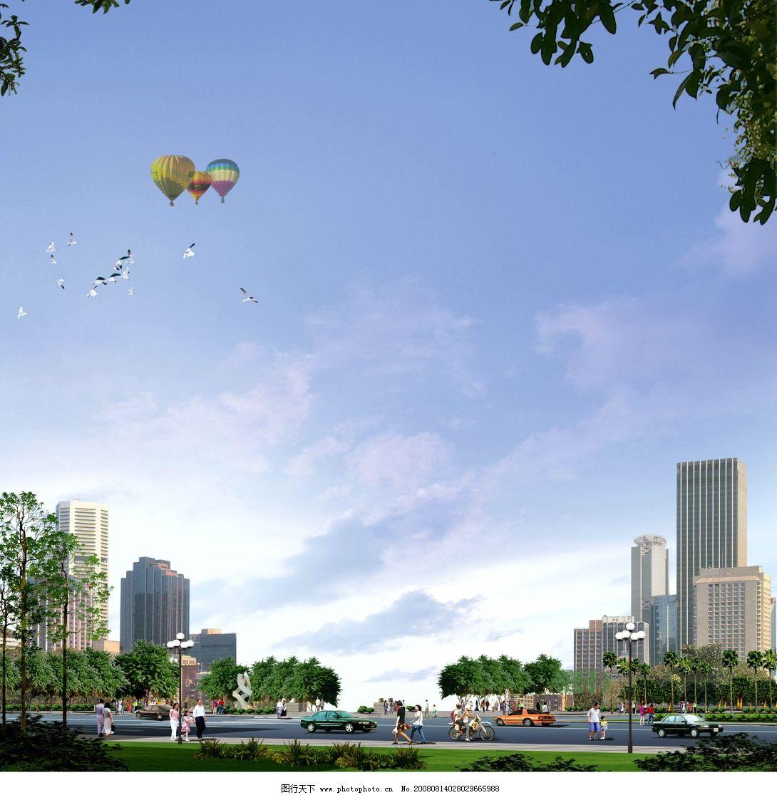 广场景观设计效果图 psd分层 景观设计 广场 天空 树 楼 热气球 鸽子