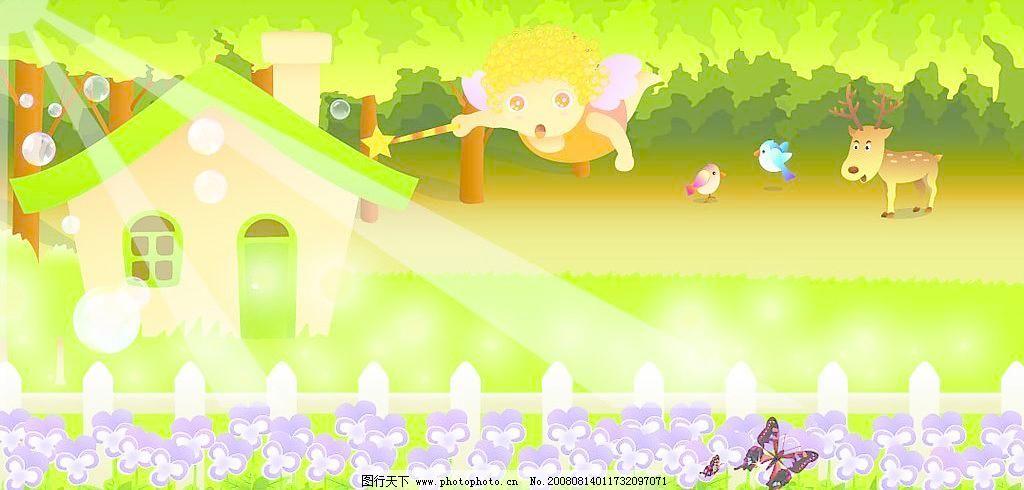 草 丛林 房子 光线 蝴蝶 花 鹿 绿地 气泡 树木 春天的风景画矢量素材