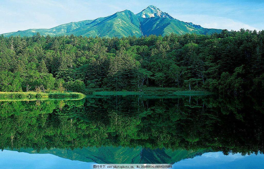 山水图片 山水 大树 大山 倒影 湖泊 水面 自然景观 自然风景 极限
