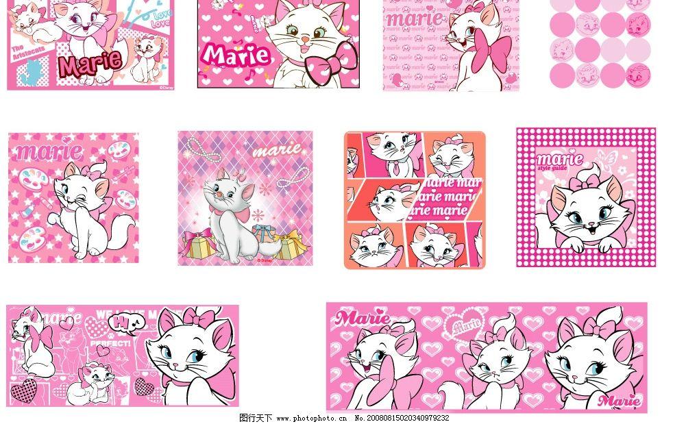 猫猫背景 卡通 可爱 动漫 底纹边框 花纹花边 矢量图库 ai