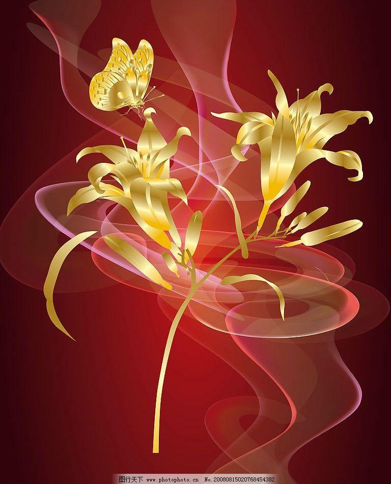 金色花 花 花朵 金色 烟 线条 移门 玻璃 强化 写真 文化艺术 其他