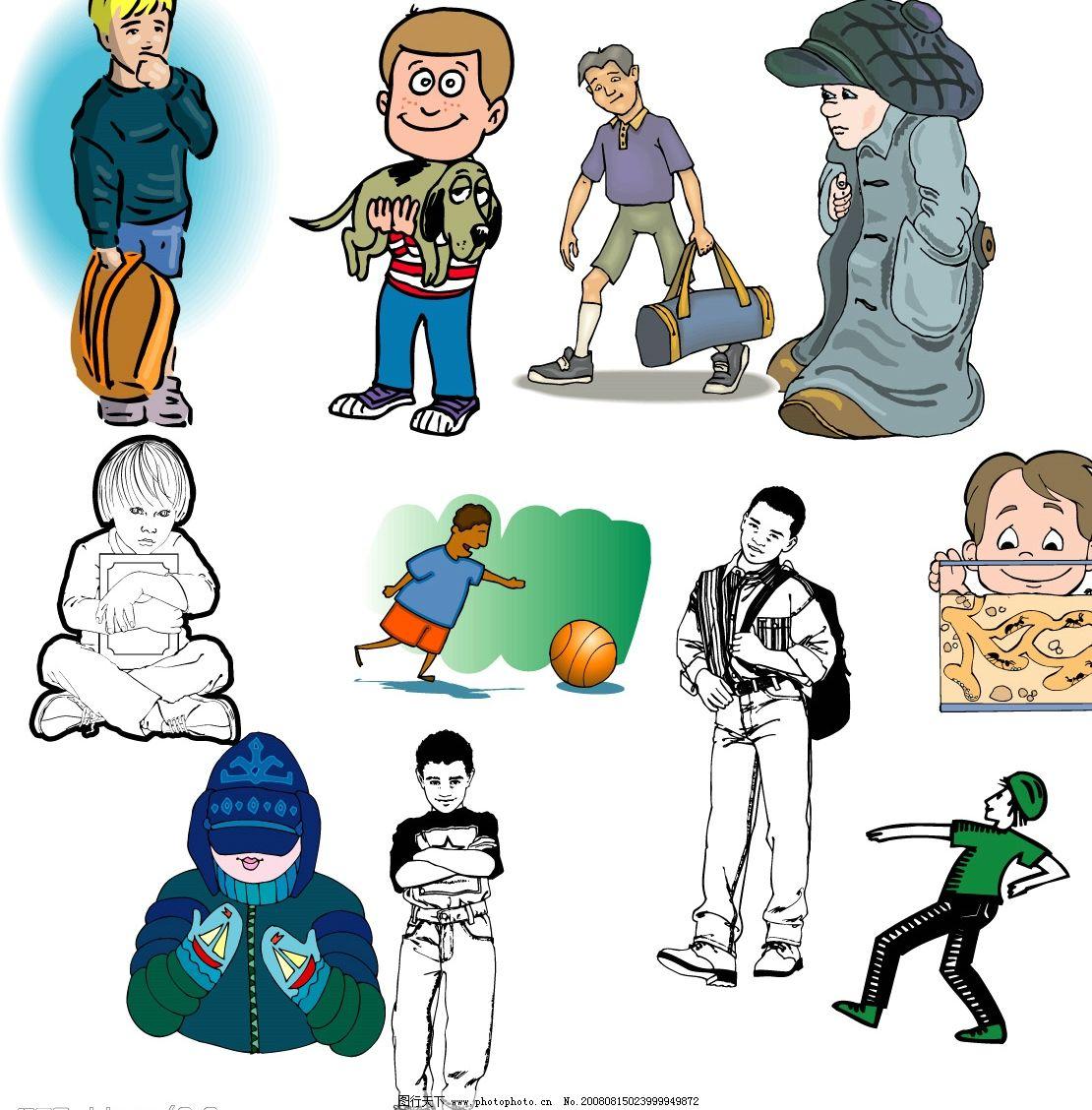 矢量人物 卡通人物 抱狗的小孩 提书包的小孩 看鱼的小孩 精品6 其他