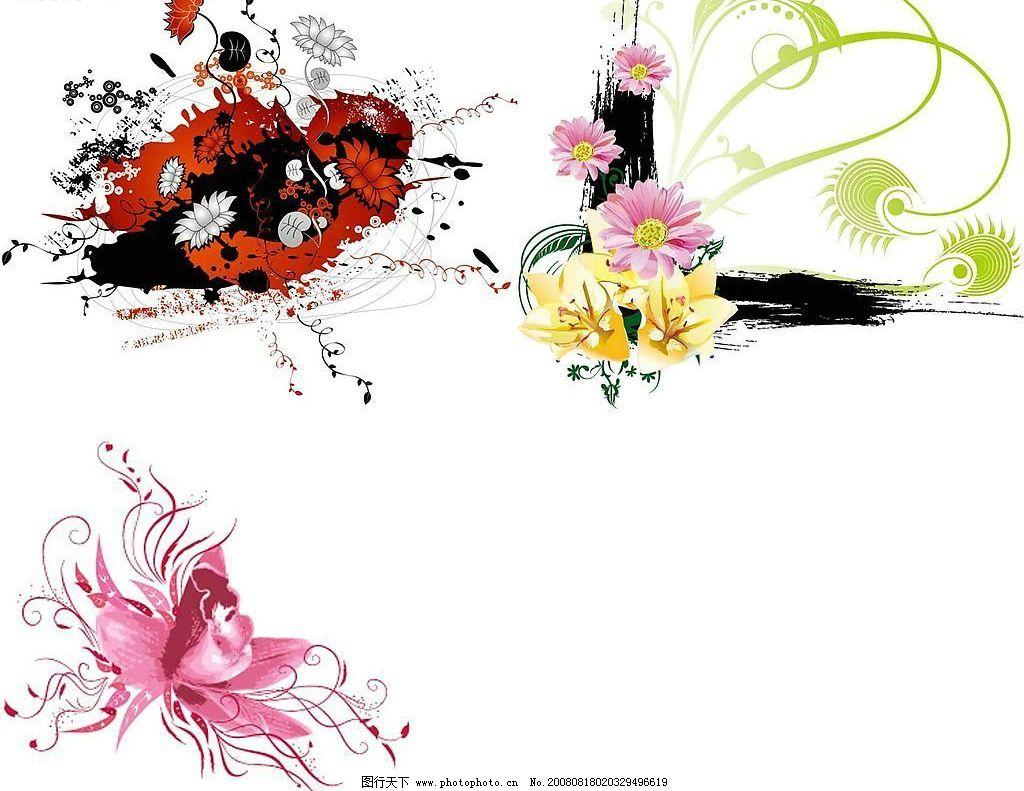 矢量花朵 花卉 莲花 花纹 雏菊 矢量素材 底纹边框 花纹花边 矢量图库
