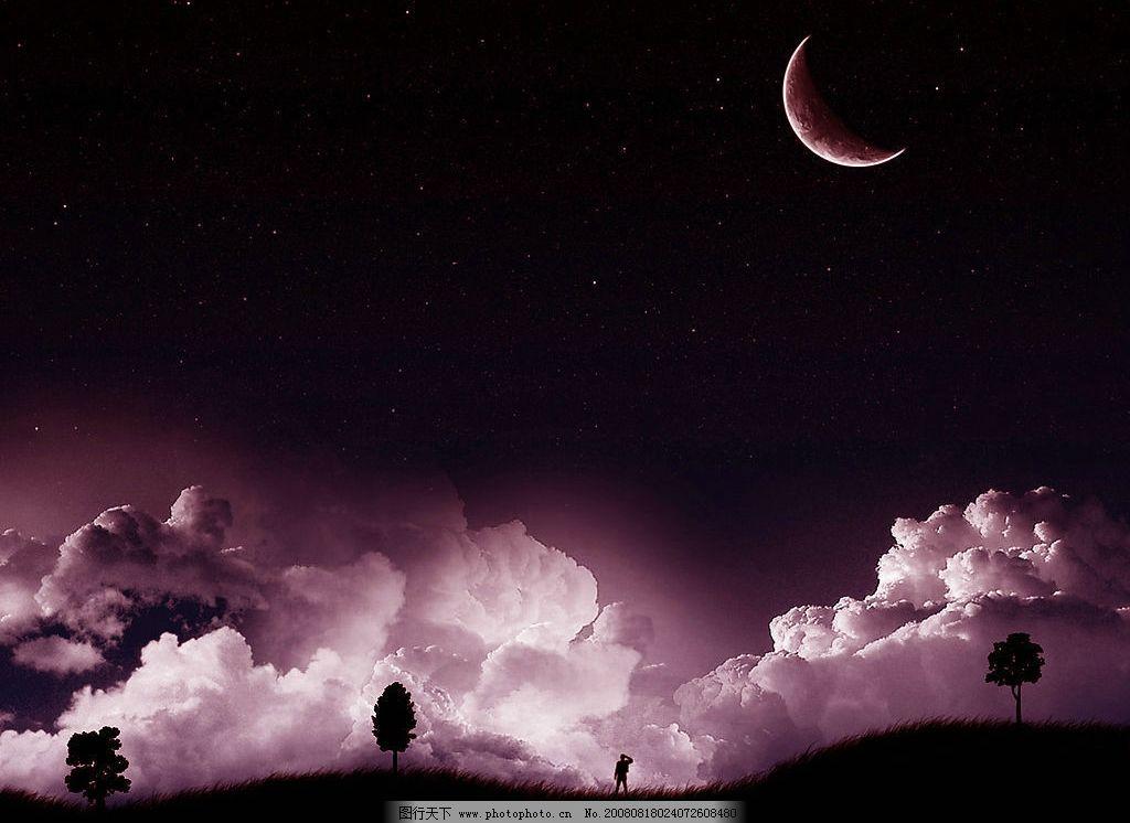 星空新月夜云层天地人图片