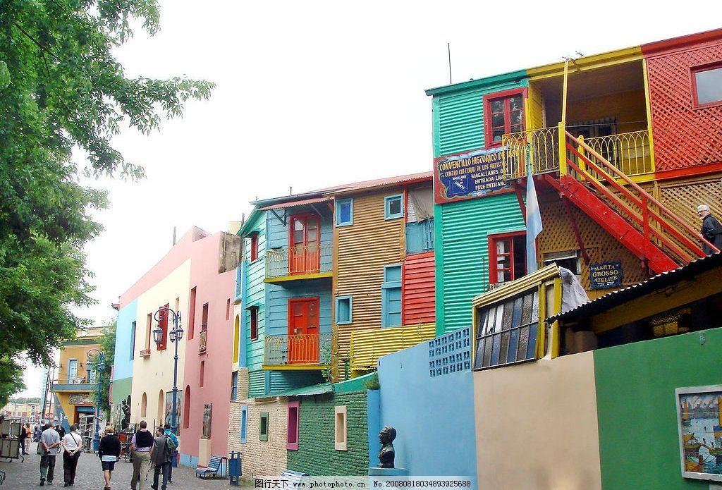 色彩斑斕的房屋 日本 彩色房屋 自然景觀 自然風景 風光無限好 攝影圖
