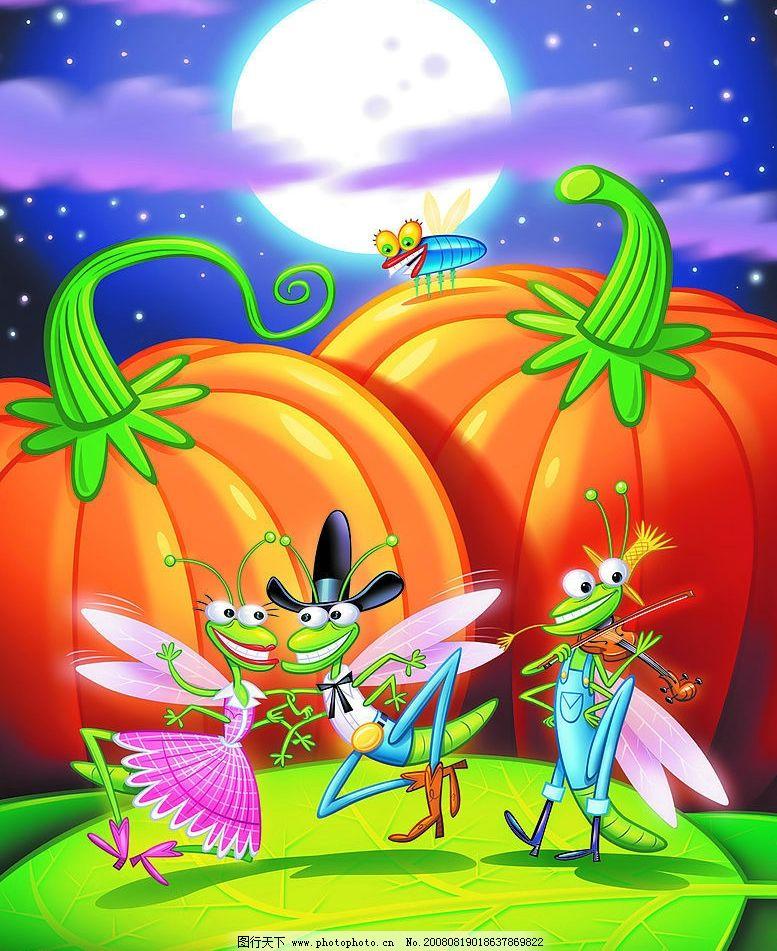 卡通动物 卡通 动物 蚊子 南瓜 鬼节 卡通蚊子 舞台 跳舞 月亮 月光