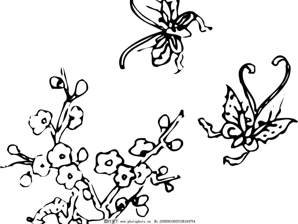 矢量梅花蝴蝶图片
