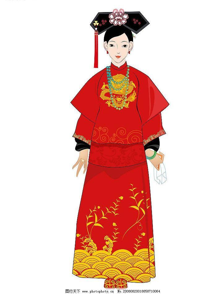 古典 红 中国红 古典美女 女人画像 清秀 文化艺术 传统文化 设计图库