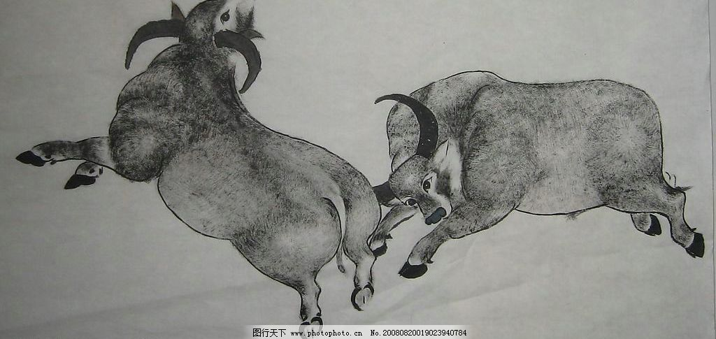 牛 水墨画