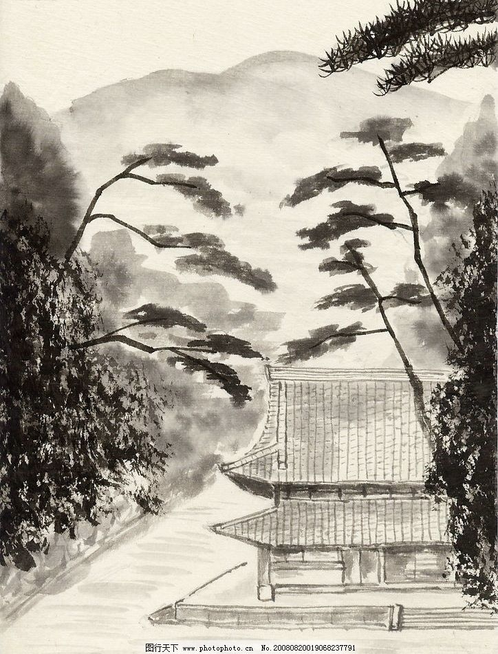 古典风景 水墨 山水 国画 艺术 绘画 古典 房子 远山 文化艺术 绘画书