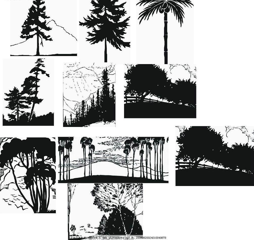 树木风影剪影矢量图(1)图片