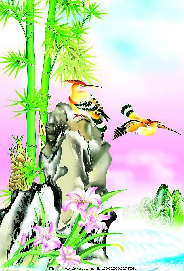 花鸟喷绘图图片