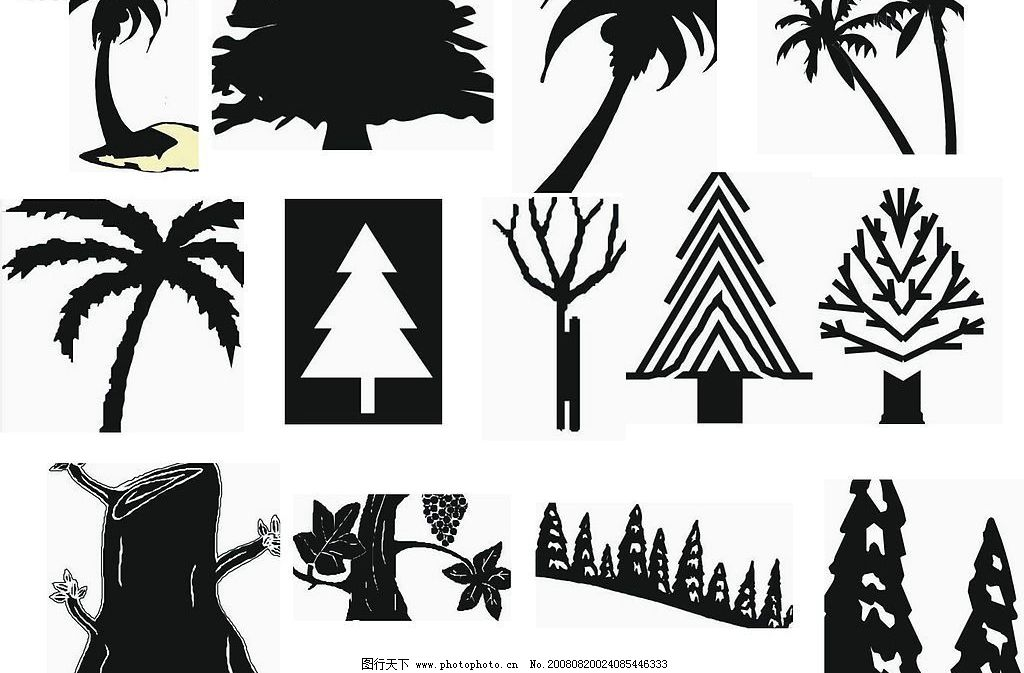 树木风影剪影矢量图(3)图片
